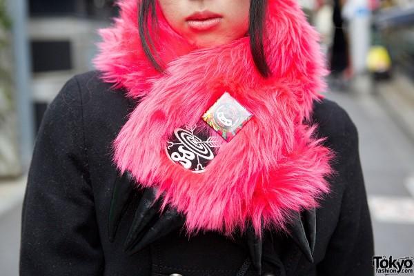 Pink Faux Fur Scarf by Takuya Angel