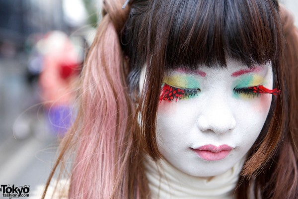 Shironuri makeup & colorful eye makeup