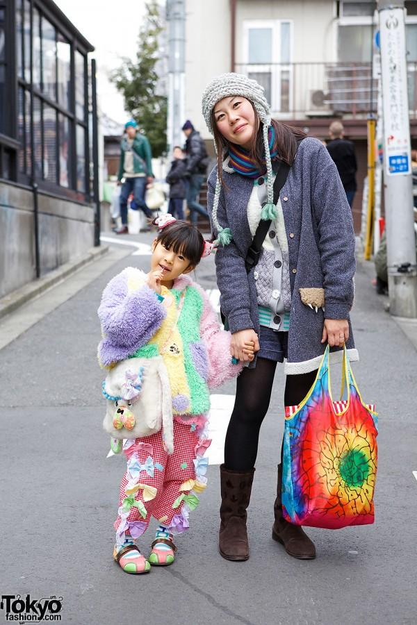Cute Harajuku Girl with Colorful Coat, Bows & Animal Purse
