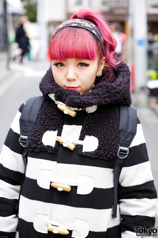 Pink Hair, Striped Duffle Coat, Plaid Skirt & Platform Sneakers in Harajuku