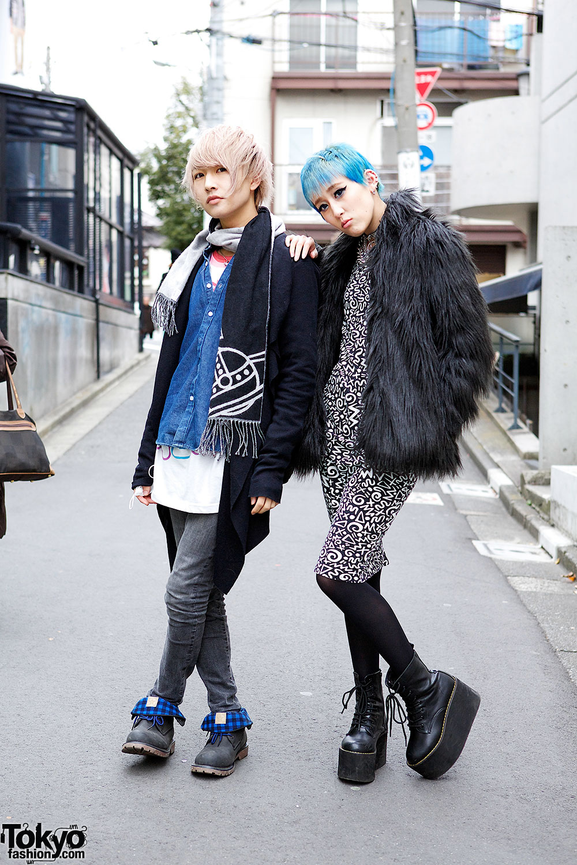 Blue Hair & Faux Fur vs Demin in Harajuku