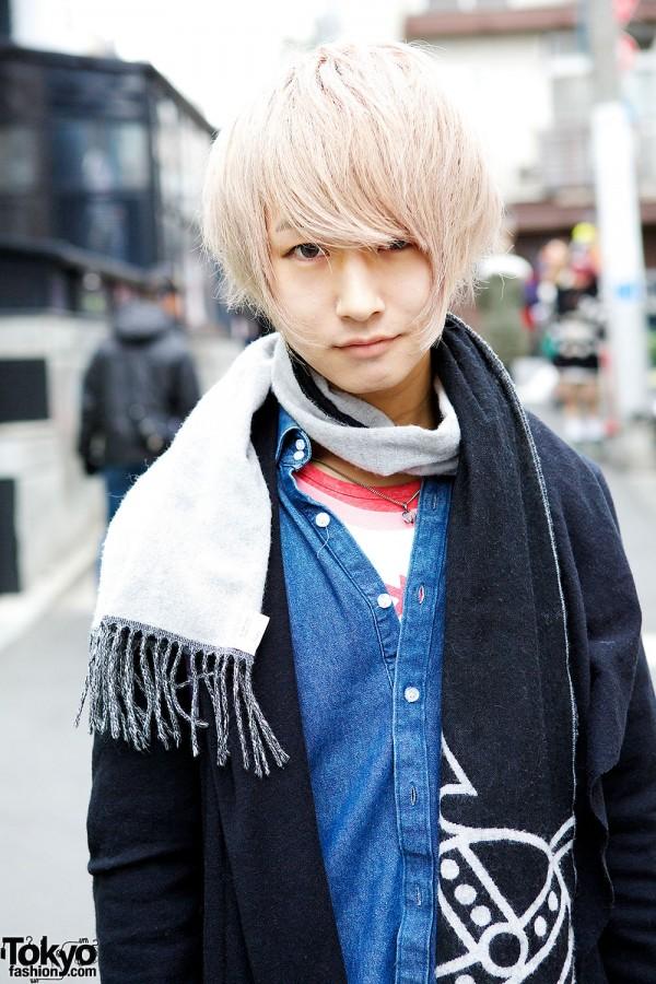Denim Shirt & Blonde Hair in Harajuku
