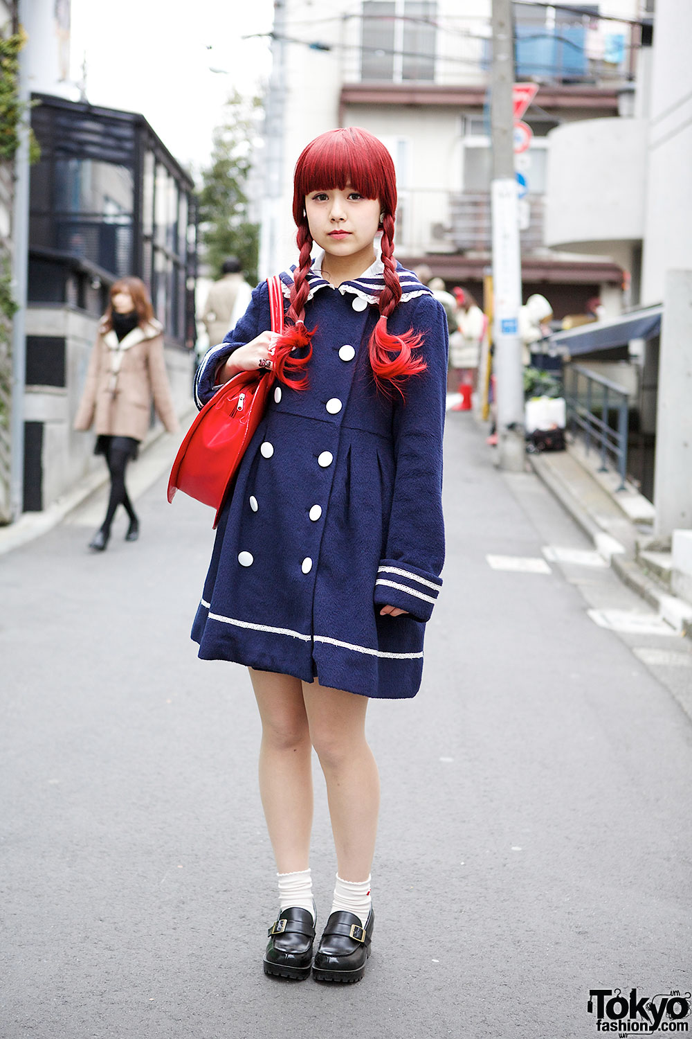Cute Sailor Coat Heart Handbag Loafers In Harajuku