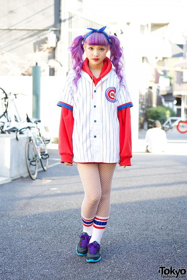 Purple Twin Tails w/ Cubs Baseball Jersey & Fishnet Tights in Harajuku
