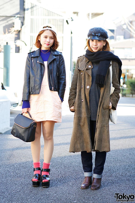 Harajuku Girls w/ Caps, Biker Jacket, Suede Coat & Platform Sandals