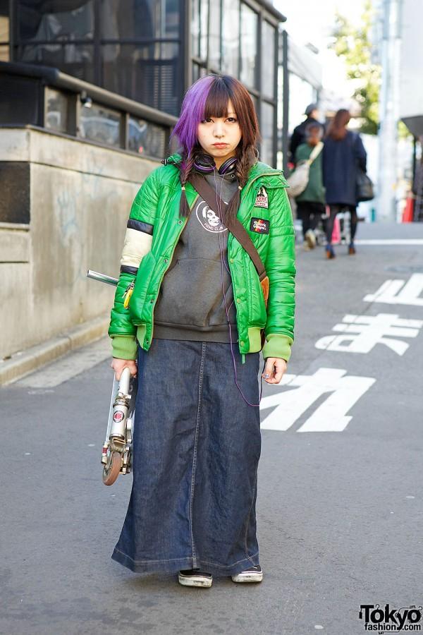 Purple Braids w/ Hysteric Glamour Jacket, Piercings & Vans in Harajuku