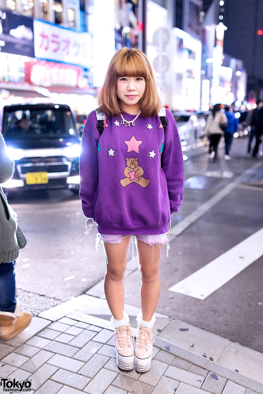 Teddy Bear Top, Jouetie Platform Sneakers & Bubbles Harajuku Backpack