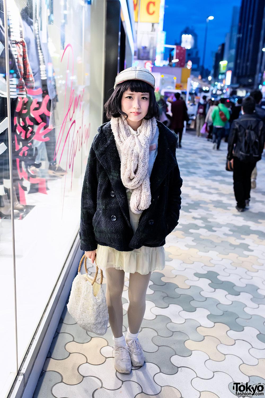 Cute Bob Hair w/ Fuzzy Jacket & Vintage Macrame Bag in Harajuku
