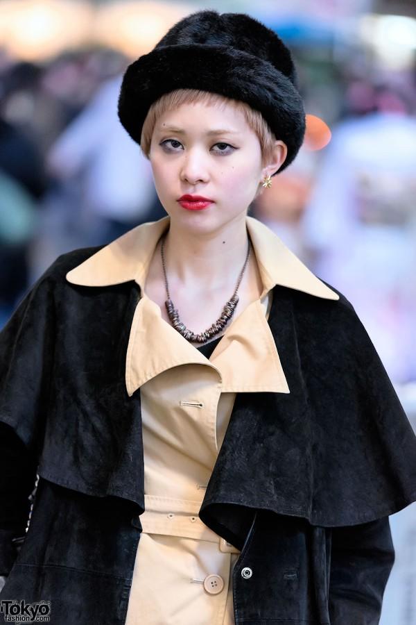 Black Furry Hat & Camel Coat