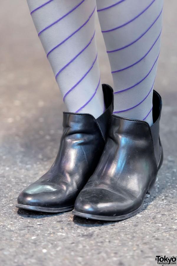 Striped Tights & Zara Booties