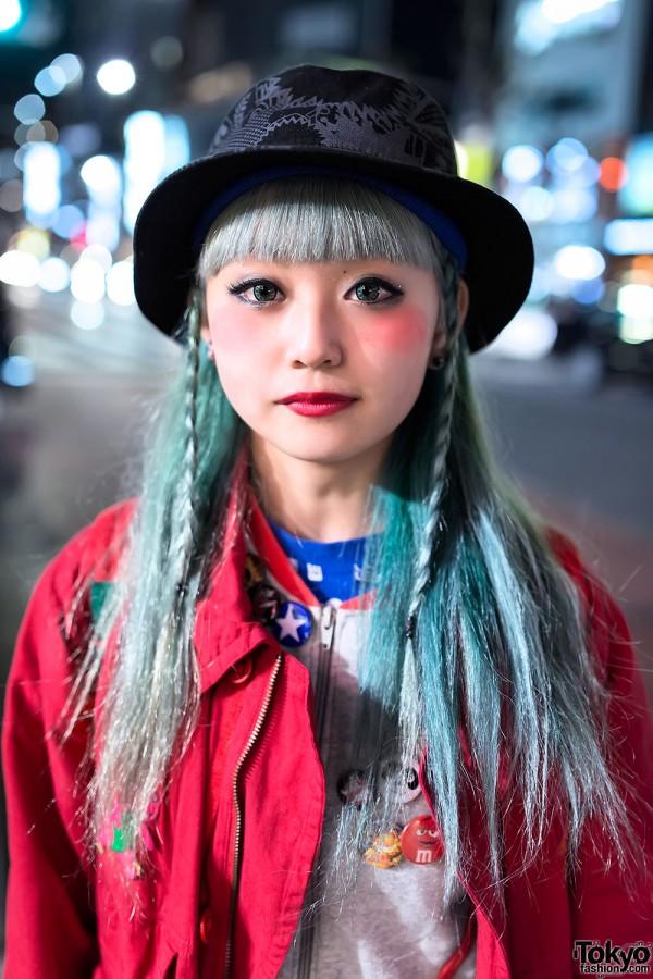 Green Hair & Braids in Harajuku