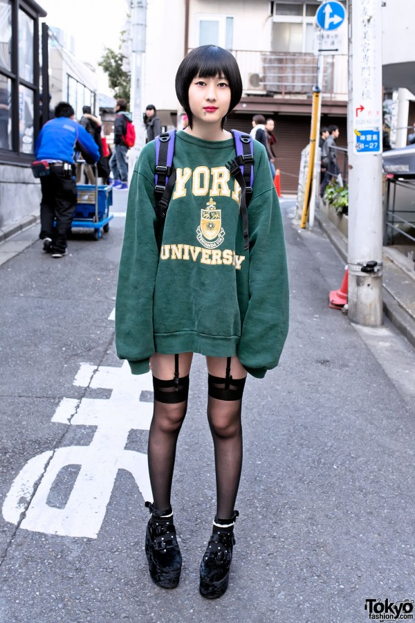 Oversized Sweatshirt Garter Stockings Velvet Platform Shoes In Harajuku