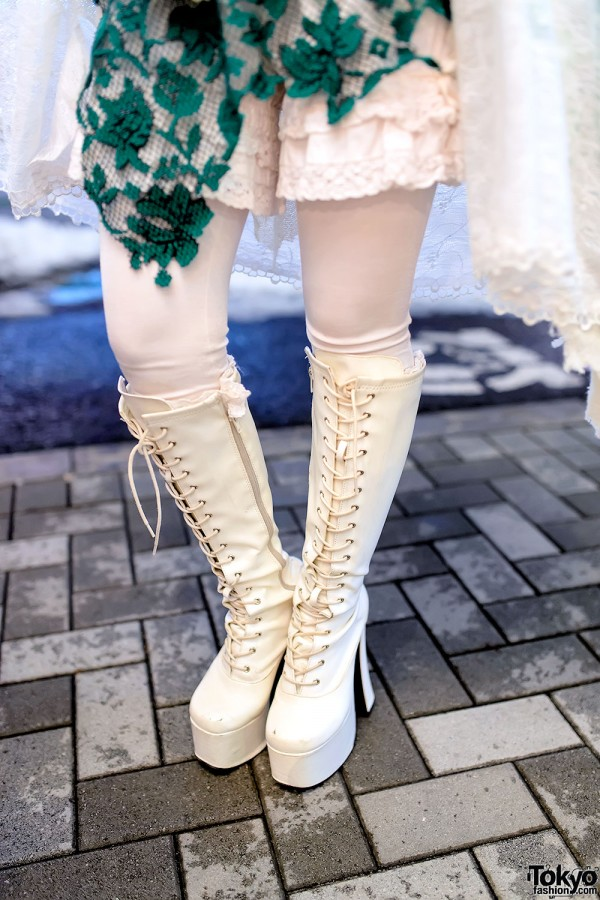 White Laceup Platform Boots
