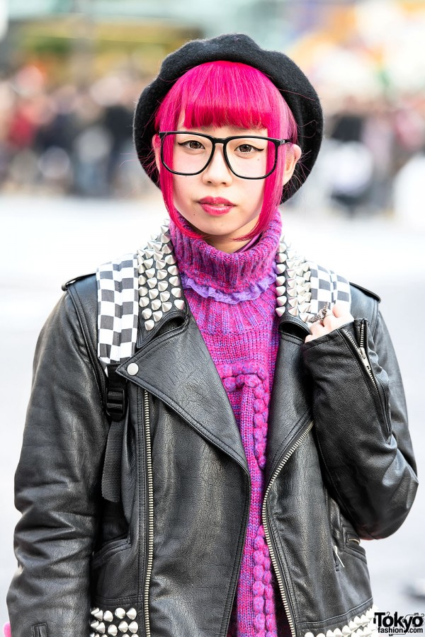 Pink Hair & Studded Leather Jacket