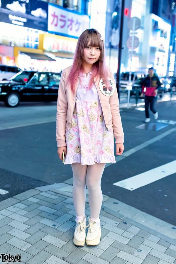 Pink Hair, Nile Perch Teddy Bear Dress & Cherry Badge in Harajuku