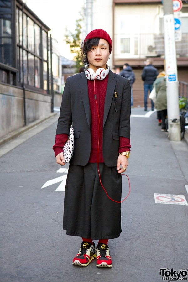 Black & Burgundy Harajuku Menswear