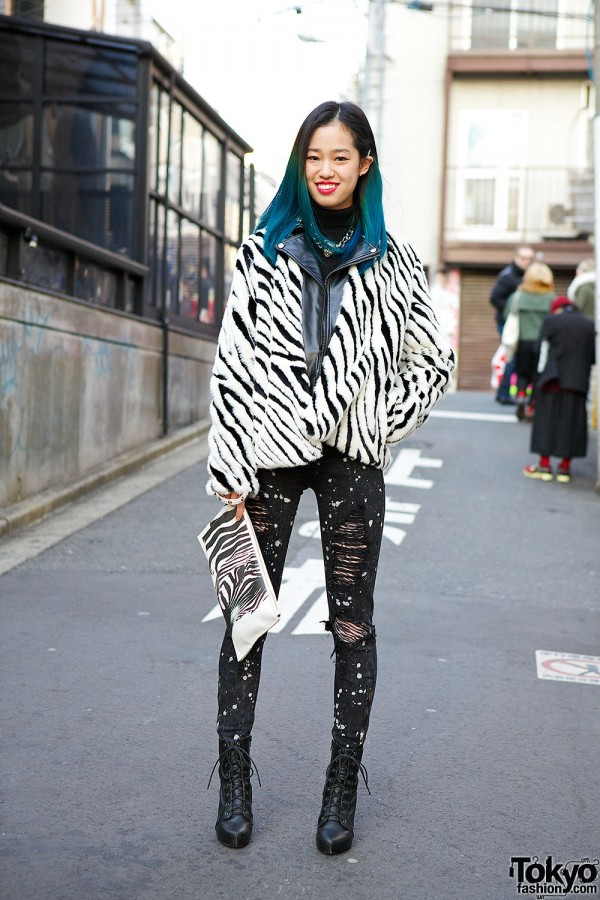 Blue Ombre Hair, Zebra Print Jacket, Clutch & Ripped Jeans in Harajuku