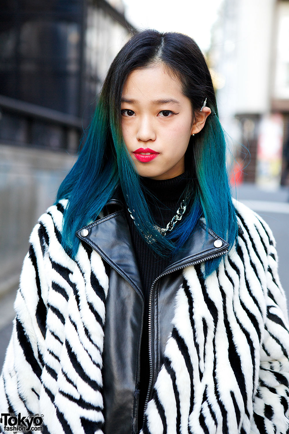 blue ombre hair zebra print jacket clutch ripped jeans in harajuku. Black Bedroom Furniture Sets. Home Design Ideas