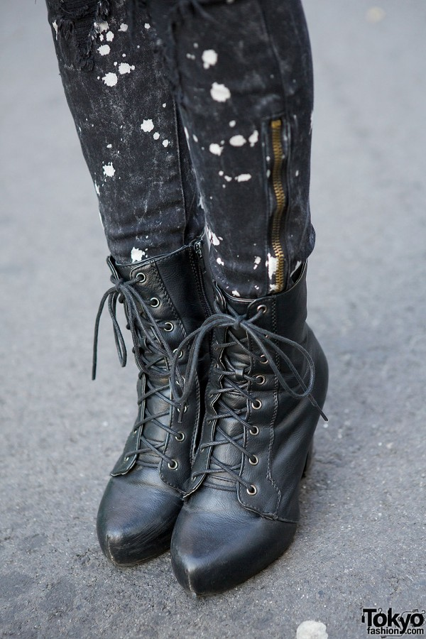 Lace-up Boots & Ripped Jeans