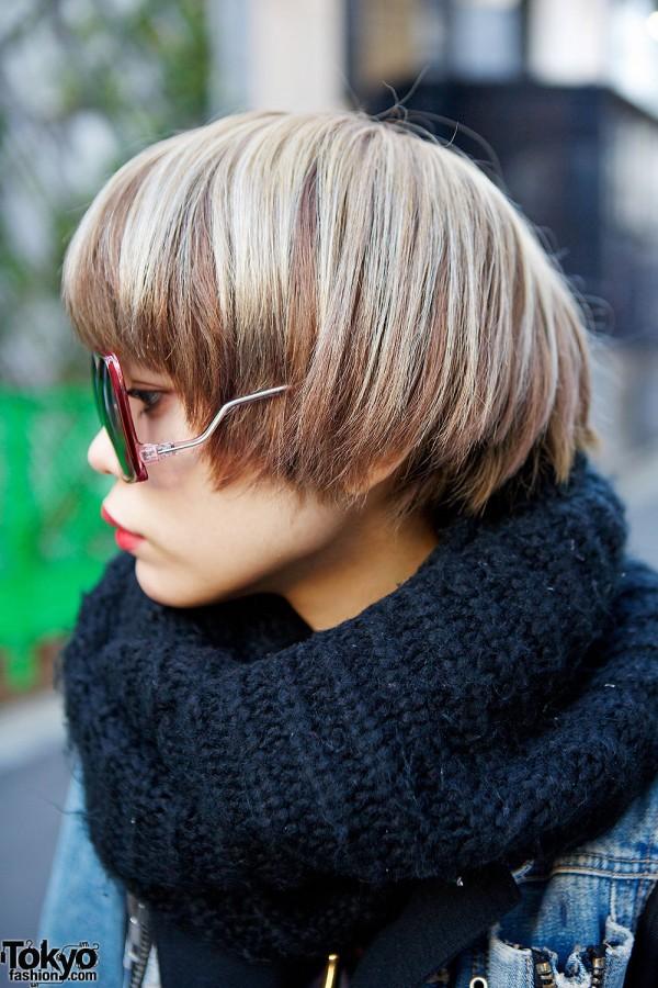Blonde Short Hairstyle in Harajuku