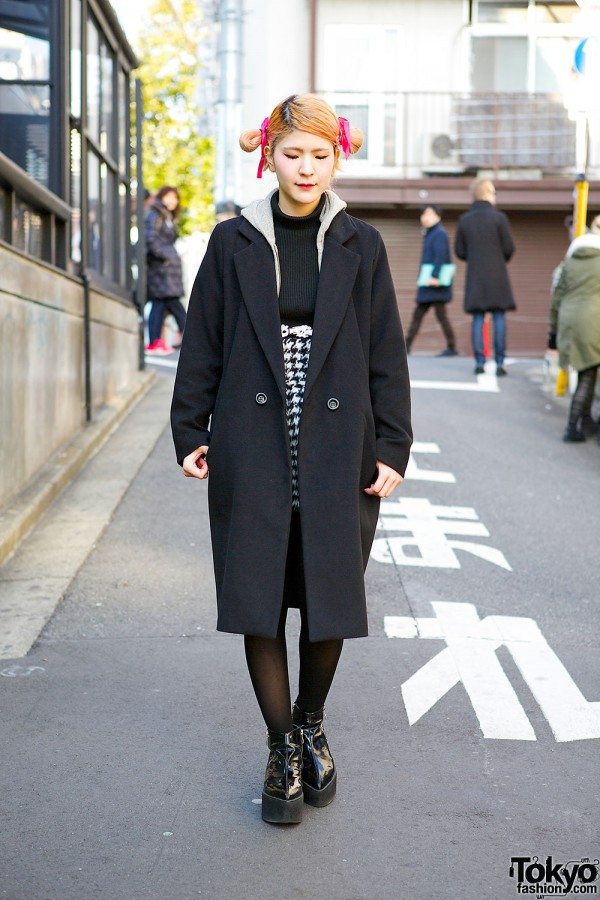lilLilly Outfit w/ Flower Harness, Houndstooth & Ankle Boots in Harajuku