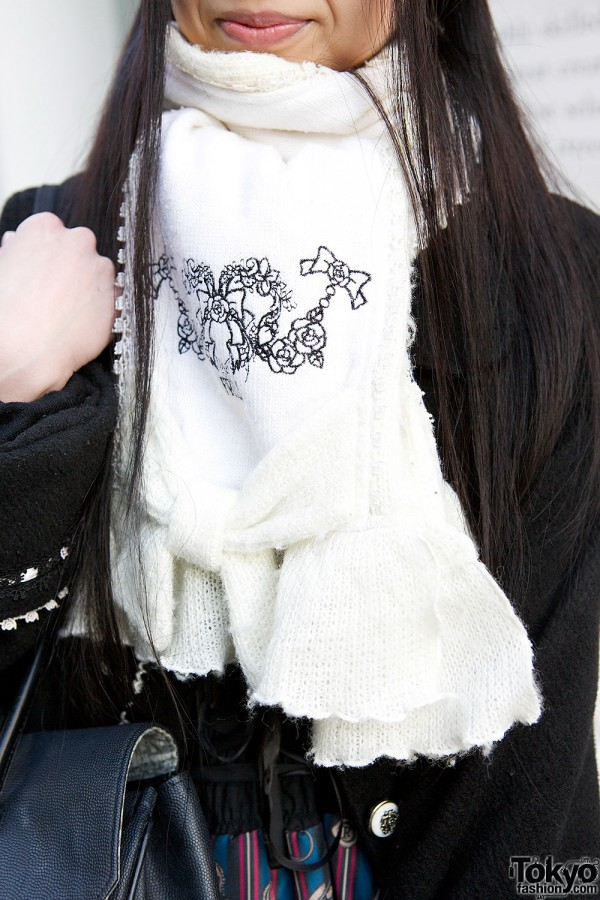 Frill Embroidered Scarf