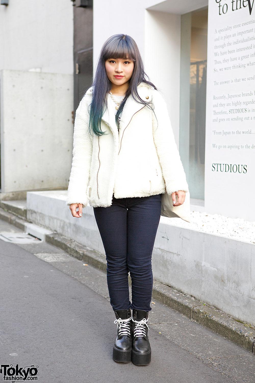 Ombre Hair w/ lilLilly Jacket, Seashell Necklace, Moussy & Nadia Harajuku Platforms