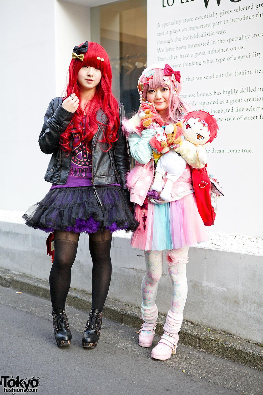 Colorful Harajuku Girls with Bows