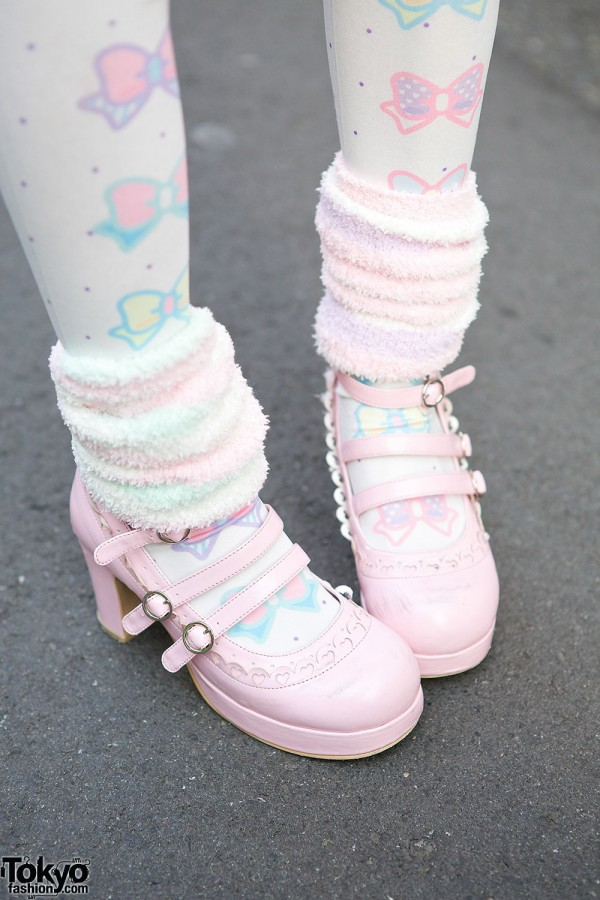 Pink Strap Shoes & Pastel Tights