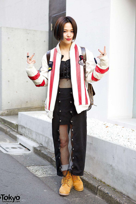 Harajuku Style Icon Una w Kinsella Fishnet Dress & Troop Leather Jacket