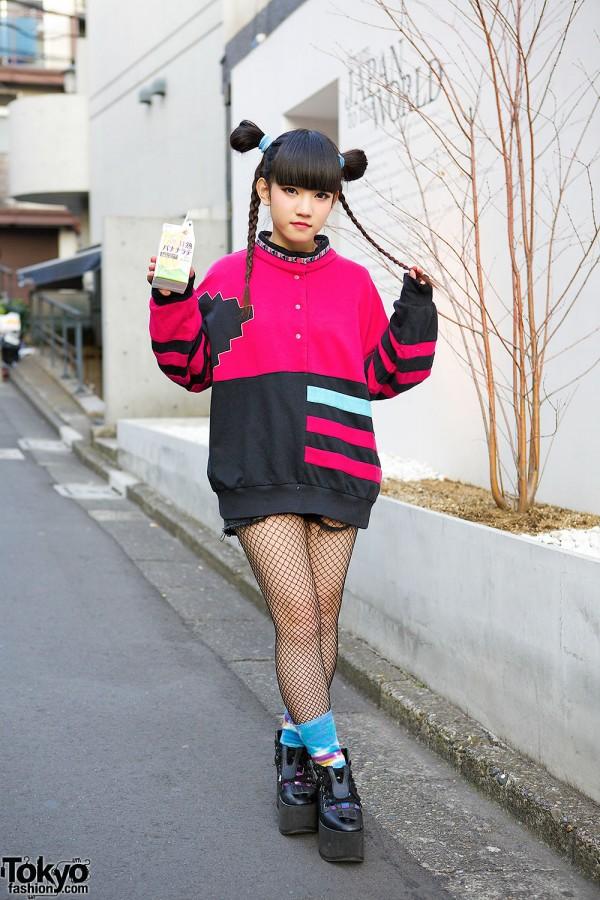 Punk Cake Sweatshirt, Cute Braids, Fishnets & Tokyo Bopper Platforms