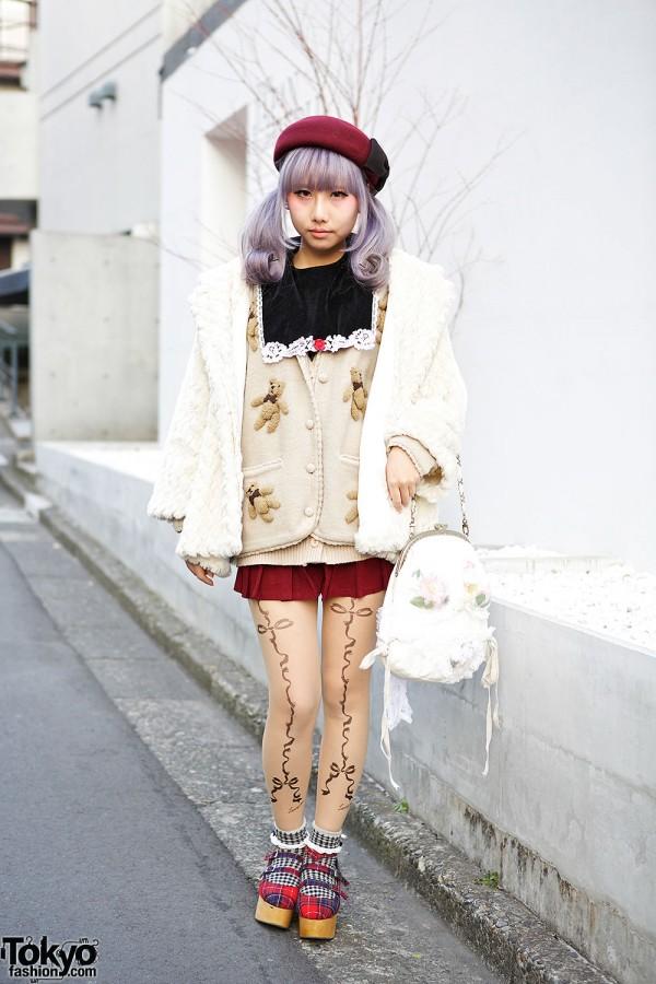 Lilac Hair in Twin Tails w/ Dazzlin Coat & Teddy Bear Cardigan in Harajuku