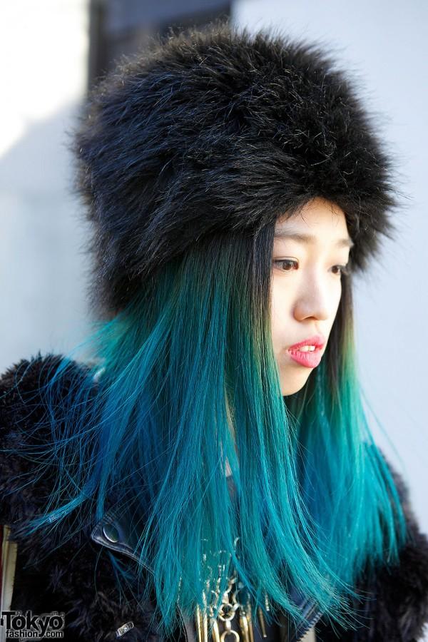 Faux Fur Hat & Blue Hair
