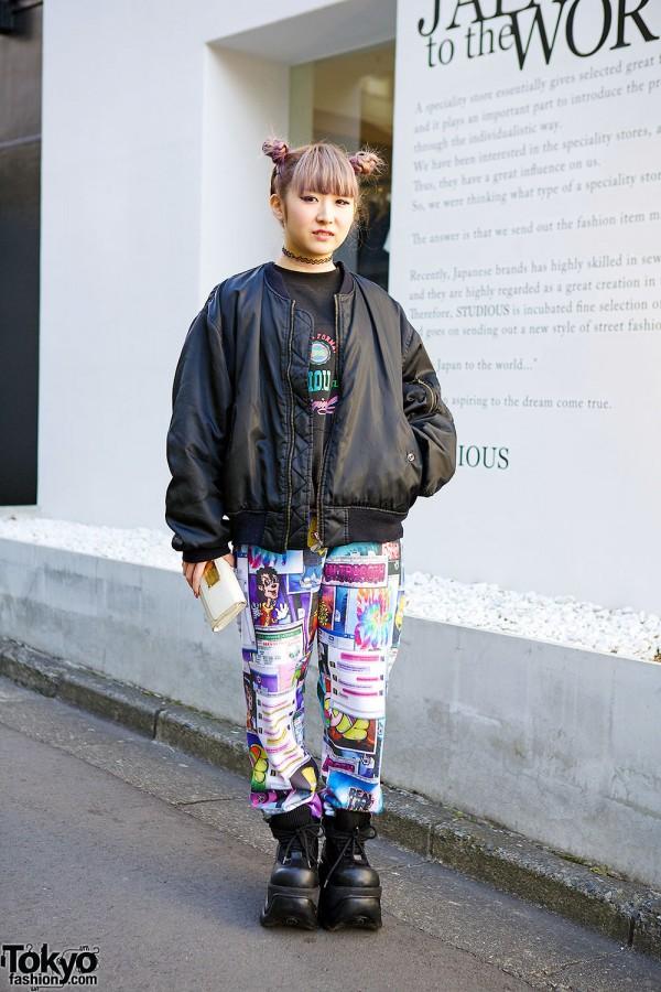 Lilac Twin Buns Hairstyle, Jeremy Scott & Mang King Fung Bomber in Harajuku