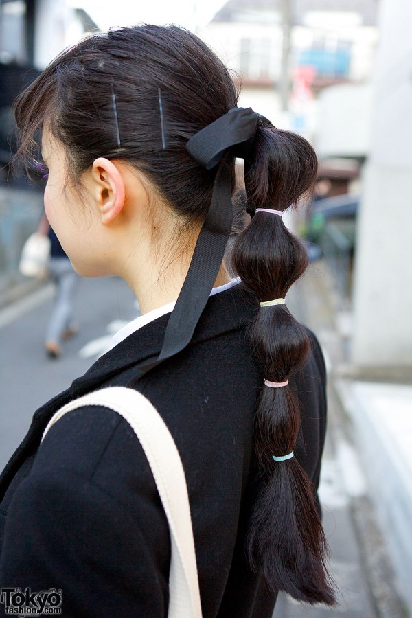 Ponytail with Black Ribbon