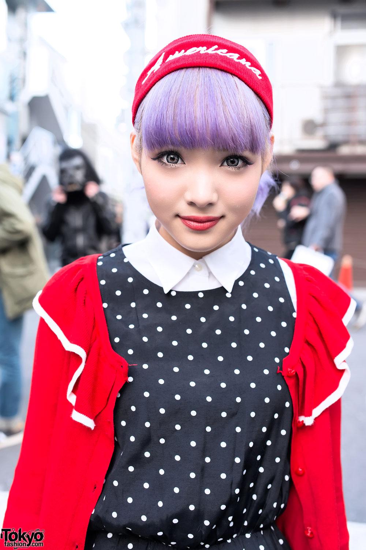 Lavender Hair, Polka Dot Swing Dress & Cardigan in Harajuku