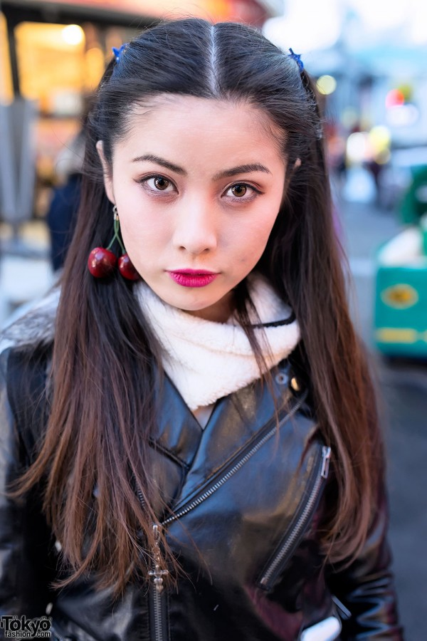 Leather Jacket & Cherry Earrings