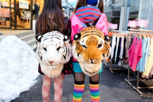 Harajuku Tiger Head Backpacks