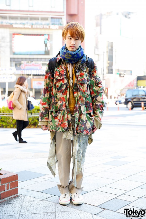 Camouflage Jacket w/ Limi Feu, Y-3, Qosmos & Resale in Harajuku