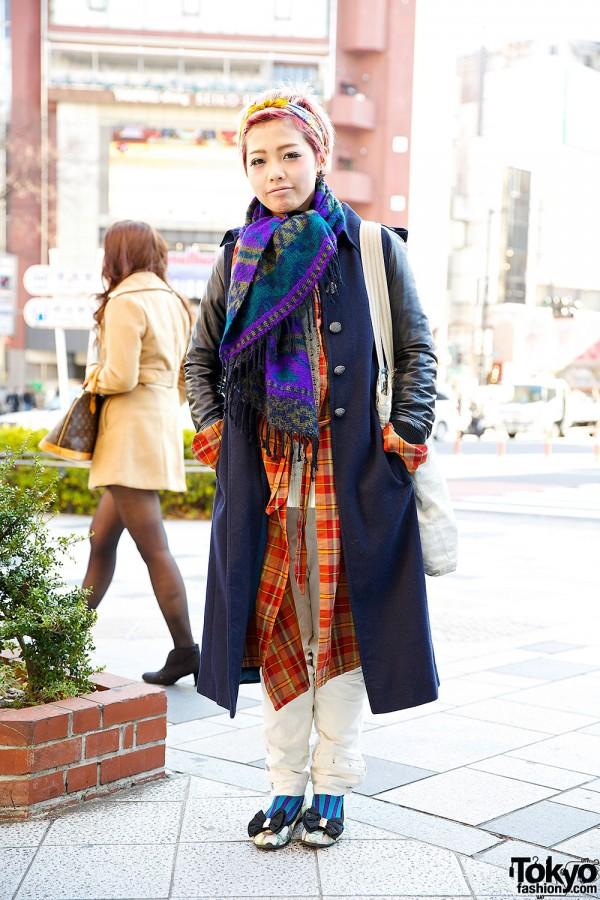 Maxi Coat & Plaid Shirt w/ Denim Bag & WhoWhat Pants in Harajuku