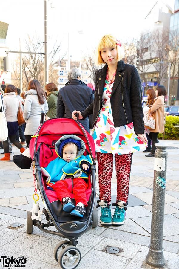 Harajuku Mother & Child w/ Galaxxxy Strawberry Print & Candy Stripper Pandas