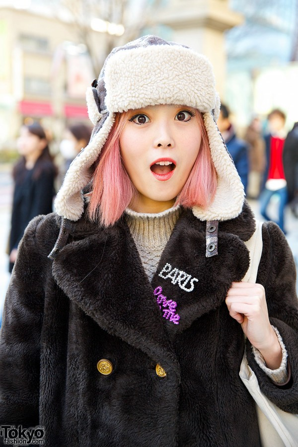 Pink Hair & Trapper Hat