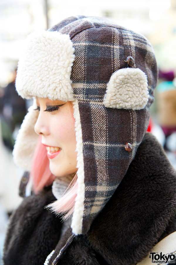 pink hair amp trapper hat w bubbles harajuku coat amp twinkle