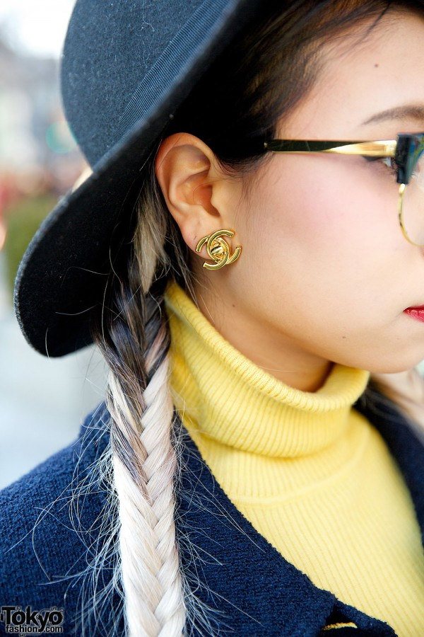 Yellow Turtleneck & Cat Eye Glasses