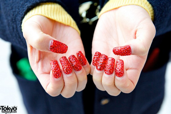 Sparkling Red Nail Art