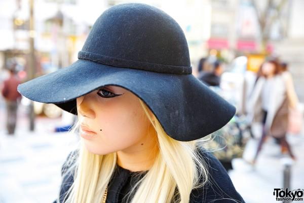 Black Floppy Hat in Harajuku
