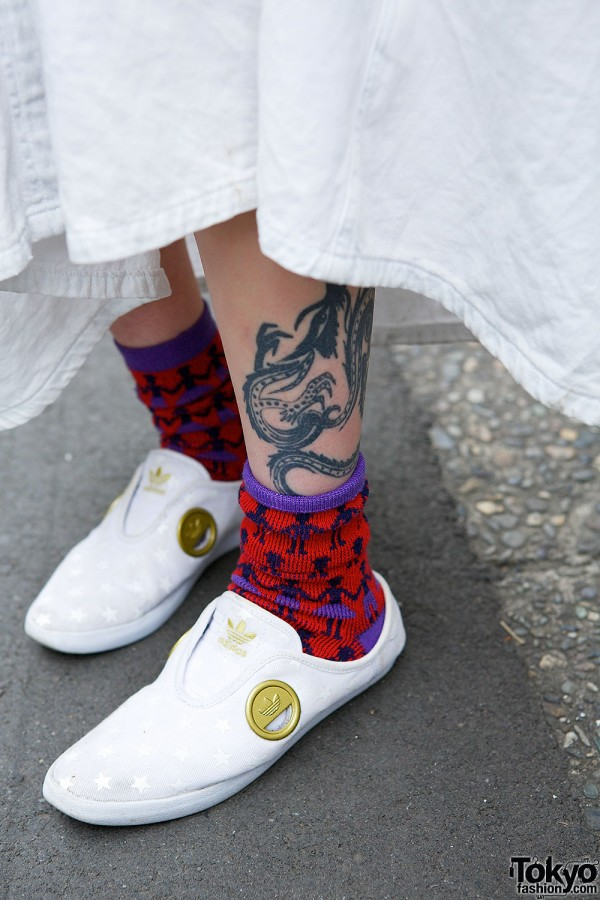 Dragon Tattoo & Adidas Sneakers