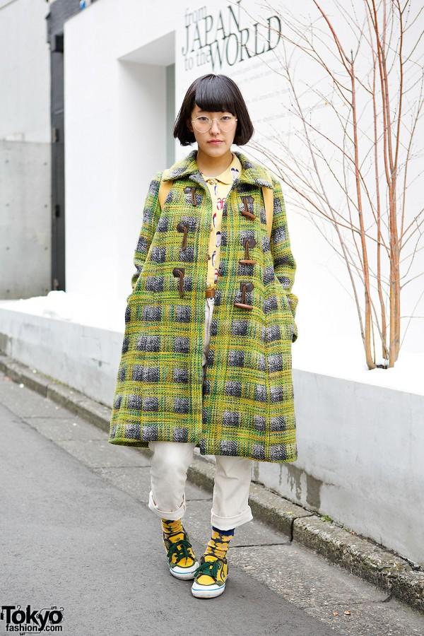 Tartan Coat, Floral Socks & Round Glasses in Harajuku