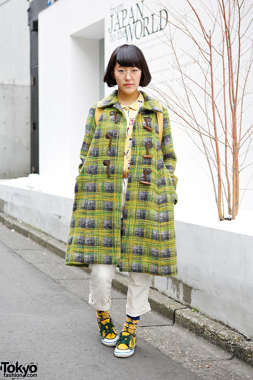 Plaid Coat in Harajuku