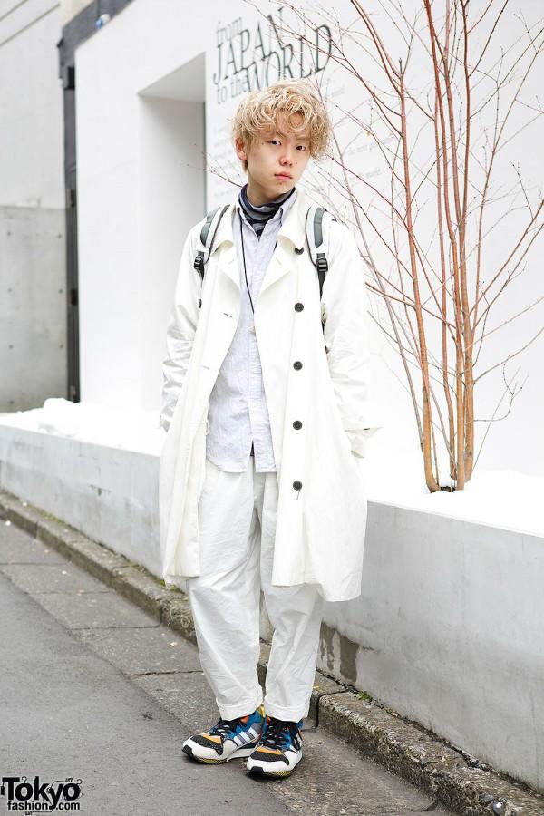 Harajuku Hairdresser Wearing Sun Sea, Hyu-Men, Neel & Adidas